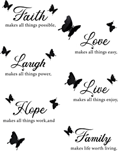 6 Pieces Faith Hope Love Laugh Family Live Wall Decal Stickers Motivational Wall Decal Stickers with 12 Pieces 3D Butterfly Decals Inspirational Quotes Stickers Set for Home Office Decorations