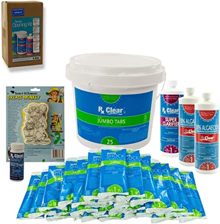 Amazon Com Rx Clear Pool Opening Chemical Maintenance Kit Plus For Above Ground Or Inground Pools For Pools Up To 15 000 Gallons Includes Chlorine Tabs Super Shock 50 Algaecide