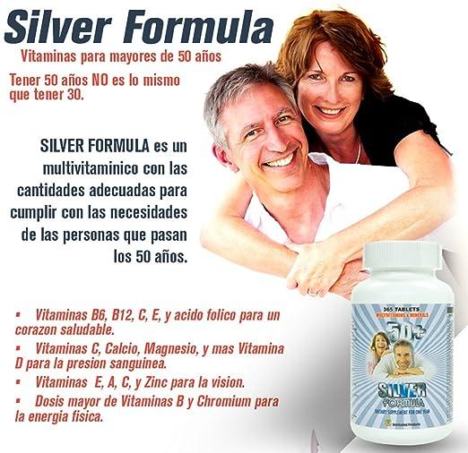 Silver Formula. Multivitaminas para mayores de 50 anos. 365 tabletas para todo 1 año. para un Corazon saludable, salud Mental, para la Vision y ...