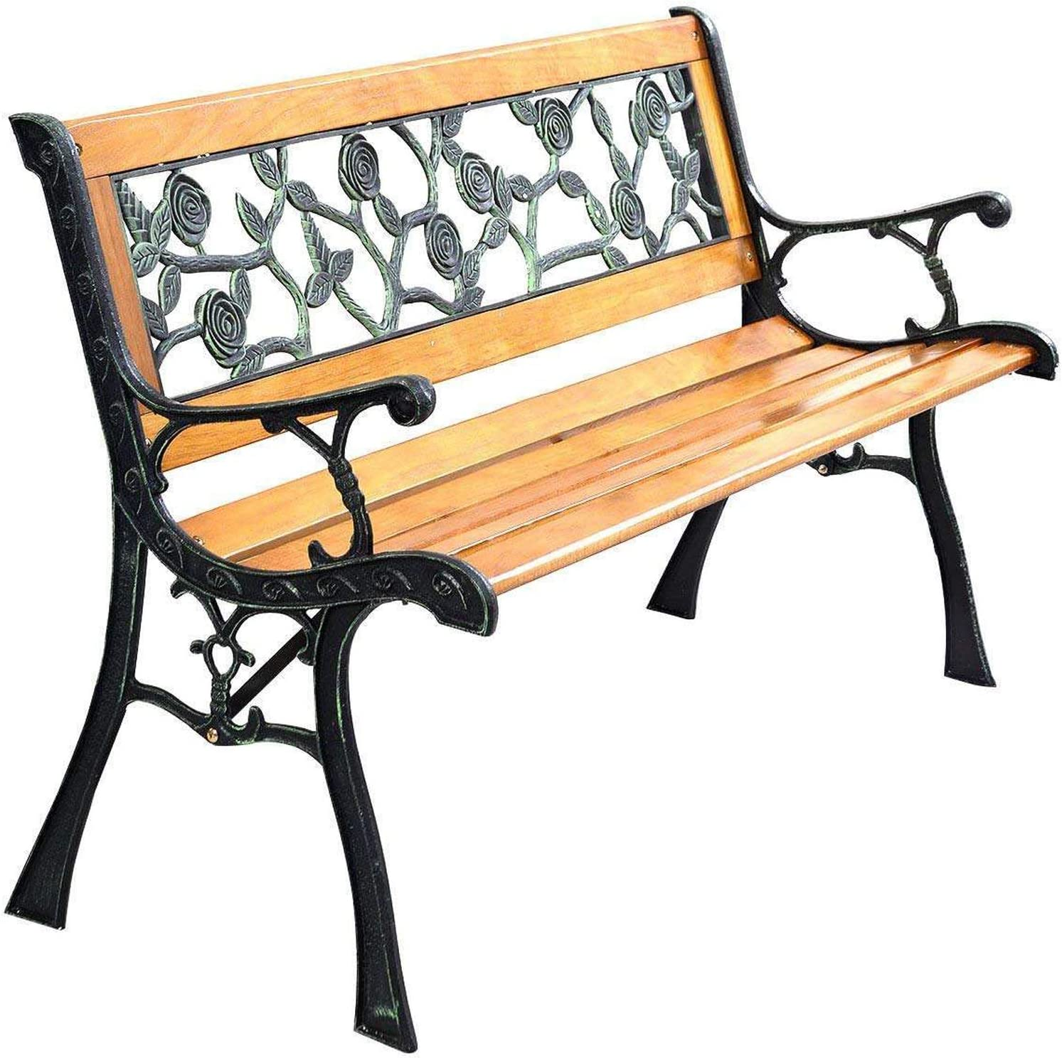 FDW Garden Bench Patio Porch Chair Deck Hardwood Cast Iron Love Seat