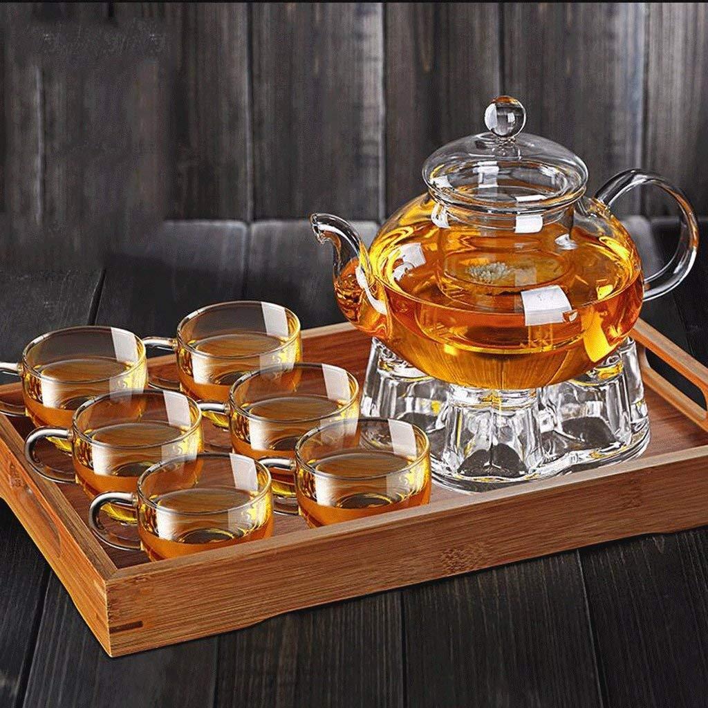 肥厚ガラスカンフーティーセットホームフィルター耐熱ガラス茶フラワーティーポットパッケージ800ミリリットル(ティーポット+ 6カップ+大型トレイ+ティーポットベース)(形状:A) グラスティーセット (サイズ さいず : A) B07R5YC9P5  A