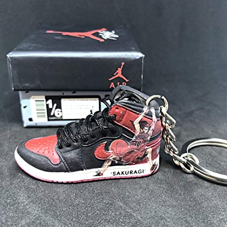 release date: de702 ced43 Amazon.com  Air Jordan 1 I High Bred Retro x Slam Dunk Anime Hanamichi  Sakuragi OG Sneakers Shoes 3D Keychain Figure with Box  Everything Else