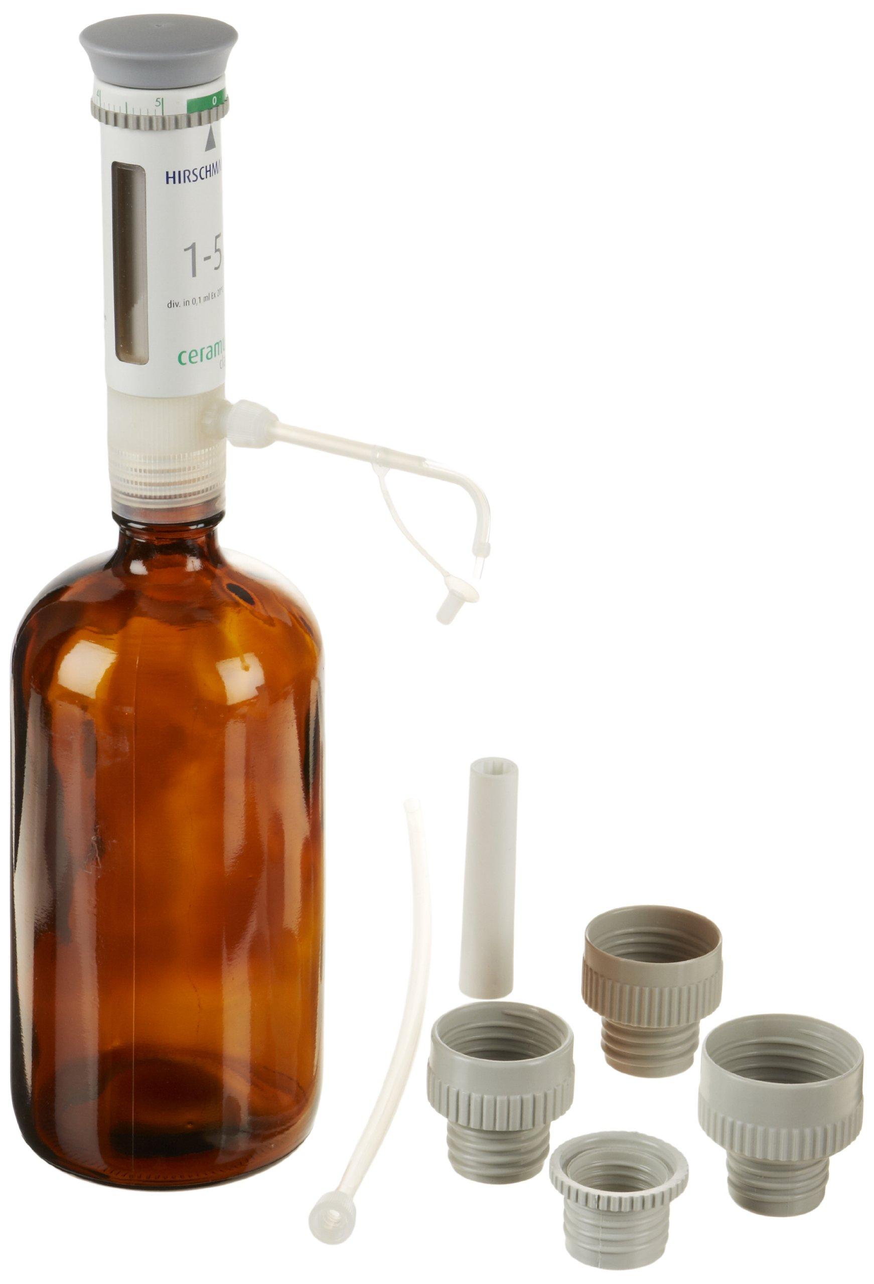 Hirschmann Ceramus Classic 933000010 Bottle Top Dispenser with Ceramic Piston and 32oz Bottle, 1-5ml Volume Range, 0.1ml Graduation