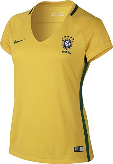 27f6cc42 Amazon.com : Nike Womens Brazil Home Jersey, Yellow, XL. : Clothing