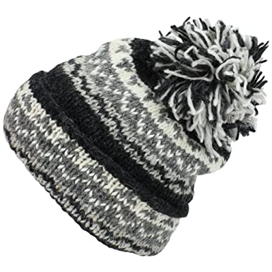 Loud Hats Grey Chunky Wool Knit Slouch Beanie Bobble Hat with Turn Up Brim 146e8d15af6b
