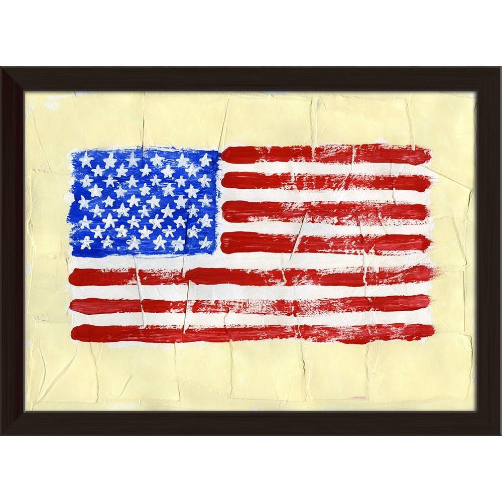 ArtzFolio United States of America Flag Canvas Painting Dark Brown Frame 10.7 x 8inch
