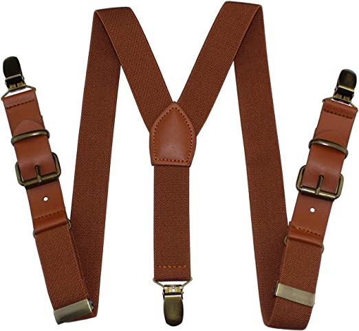 Kids Skinny Brown Suspenders for Kids with Silver Clips and Faux Leather Straps Brown Leather Suspenders for Baptism Birthday Ring Bearer