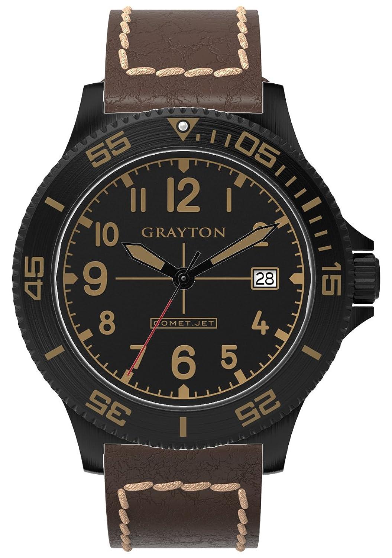Grayton Comet. Jet Herren-Quarzuhr mit schwarzem Zifferblatt Analog-Anzeige und braunem Lederband gr-0014–003.2