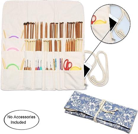 Estuche para rollo de agujas de tejer, organizador de lona para viaje de agujas de tejer circulares y rectas, ganchos de ganchillo y accesorios: Amazon.es: Juguetes y juegos
