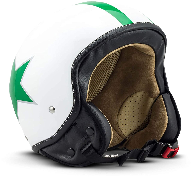59-60cm ECE certified Cream//Star SOXON SP-301-STAR Creme Vintage Jet-Helmet Pilot Moto-Helmet Biker Retro Chopper Bobber Vespa-Helmet Cruiser Mofa Scooter-Helmet Cloth Bag incl L