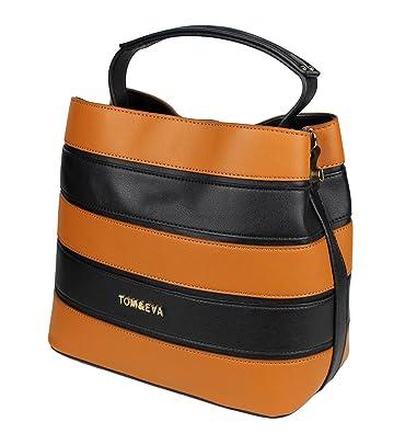 fdf67c7d28260 Tom   Eva Damen Handtasche - Beutel Tasche aus Kunstleder Schwarz Braun  gestreift