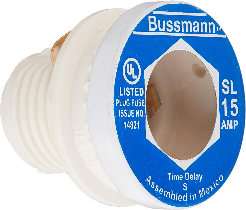 Bussmann BP/SL-15 15 Amp Time Delay Loaded Link Rejection Base Plug Fuse, 125V UL Listed Carded, 3-Pack