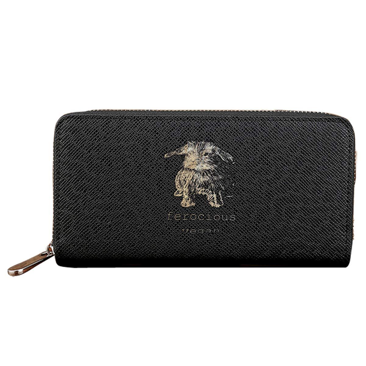 Ferocious Vegan Long Wallets For Men Women Leather Wallet Unique Zipper Wallet
