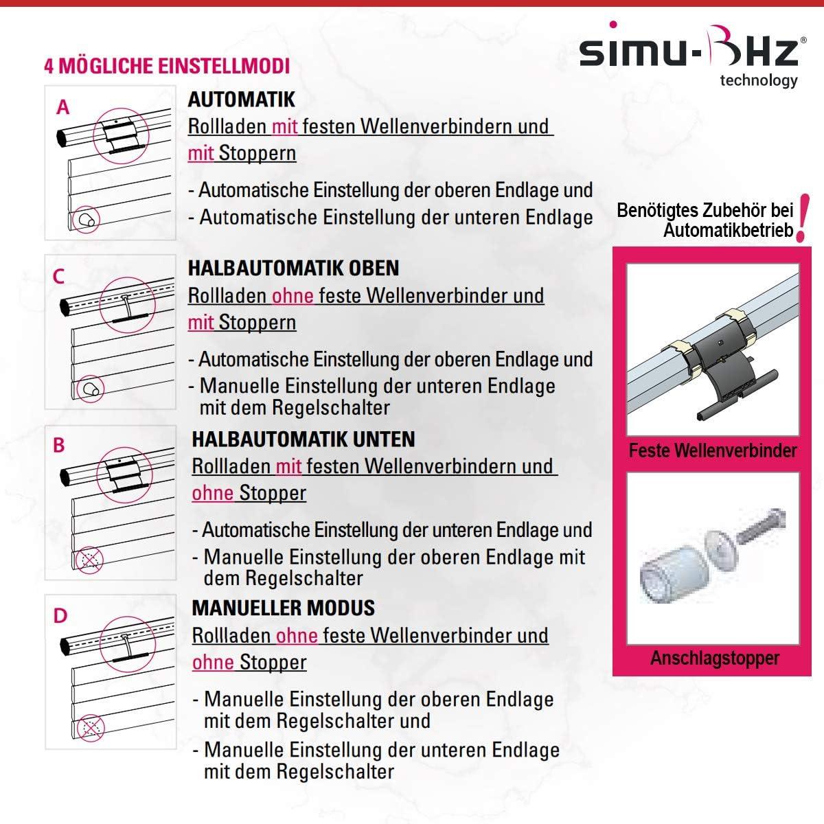 d/étection dobstacles//d/étection de grenouille Simu T3.5 EBHz Moteur /à volet roulant sans fil 4//16 4 Nm SW40 avec radio bidirectionnelle pour volets roulants et volets roulants