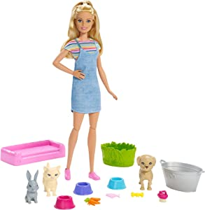 Barbie Play 'n Wash Pets Playset with Blonde Doll, 3 Color-Change Animals (a Puppy, Kitten and Bunny) and 10 Pet and Grooming Accessories, Gift for 3 to 7 Year Olds
