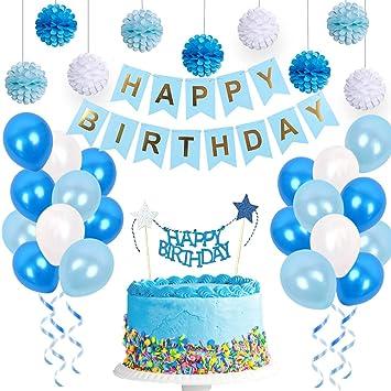 Amazon.com: Kit de decoración de cumpleaños azul para niños ...