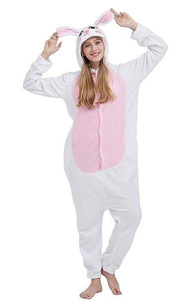 00acd35866 Kigurumi Pijama Animal Entero Unisex para Adultos con Capucha Cosplay  Pyjamas Conejo Ropa de Dormir Traje de Disfraz para Festival de Carnaval  Halloween ...