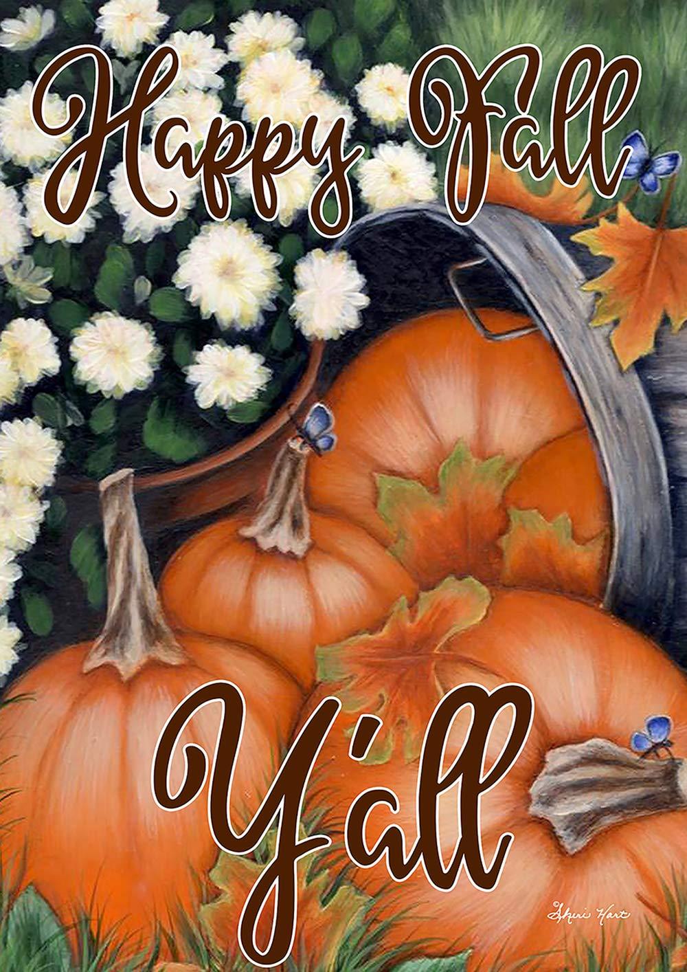 Toland Home Garden 1012205 Pumpkin Bunch 28 x 40 inch Decorative, Fall Autumn Happy Fall Y'all, House Flag