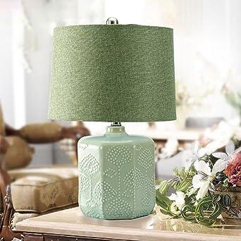 Tischleuchte Keramik Schlafzimmer Nachttisch Lampe Weiß Grün ...