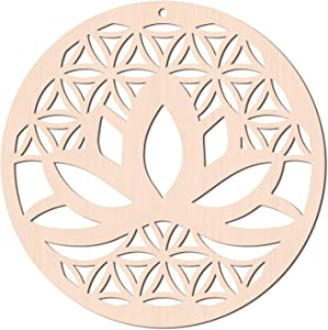 GLOBLELAND 12Inch Lotus and Flower of Life Wooden Wall Art Sacred Geometry Home Decor, Laser Cut Wooden Wall Sculpture for Wall Hanging Decor Art Home Decoration