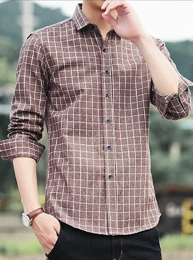 Men/'s Long Sleeve Plaid Shirt 100/% pure cotton Male casual Check Shirts slim fit