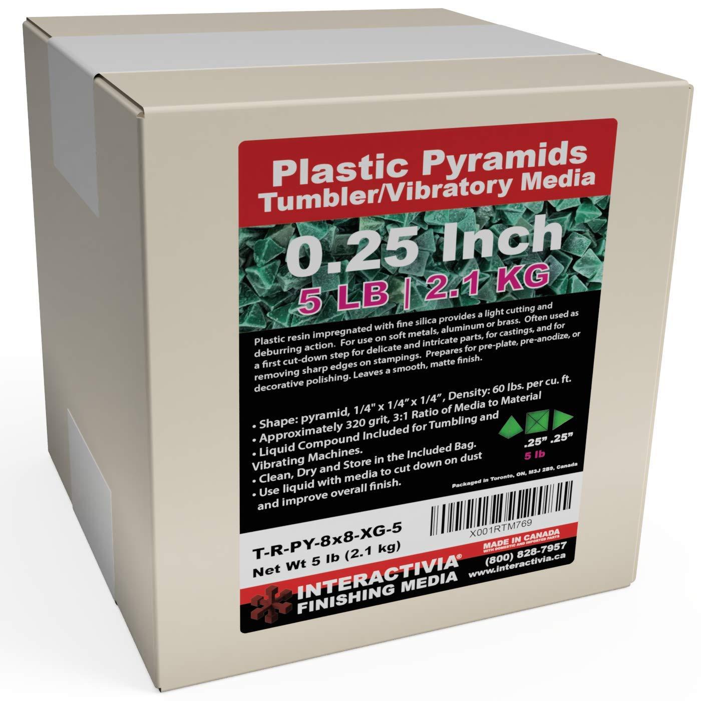 3//8 X 5//8 Pyramid X General Purpose Plastic Tumbling Media 3 Lb