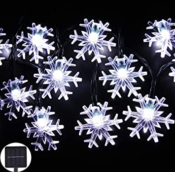 inngree solar string lights 20 ft 30 led snowflake waterproof solar christmas fairy lights for outdoor