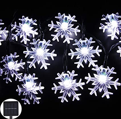 Solar Christmas Decorations.Inngree Solar String Lights 20 Ft 30 Led 8 Modes Snowflake Waterproof Solar Christmas Fairy Lights For Home Outdoor Gardens Holiday Party Patio Yard