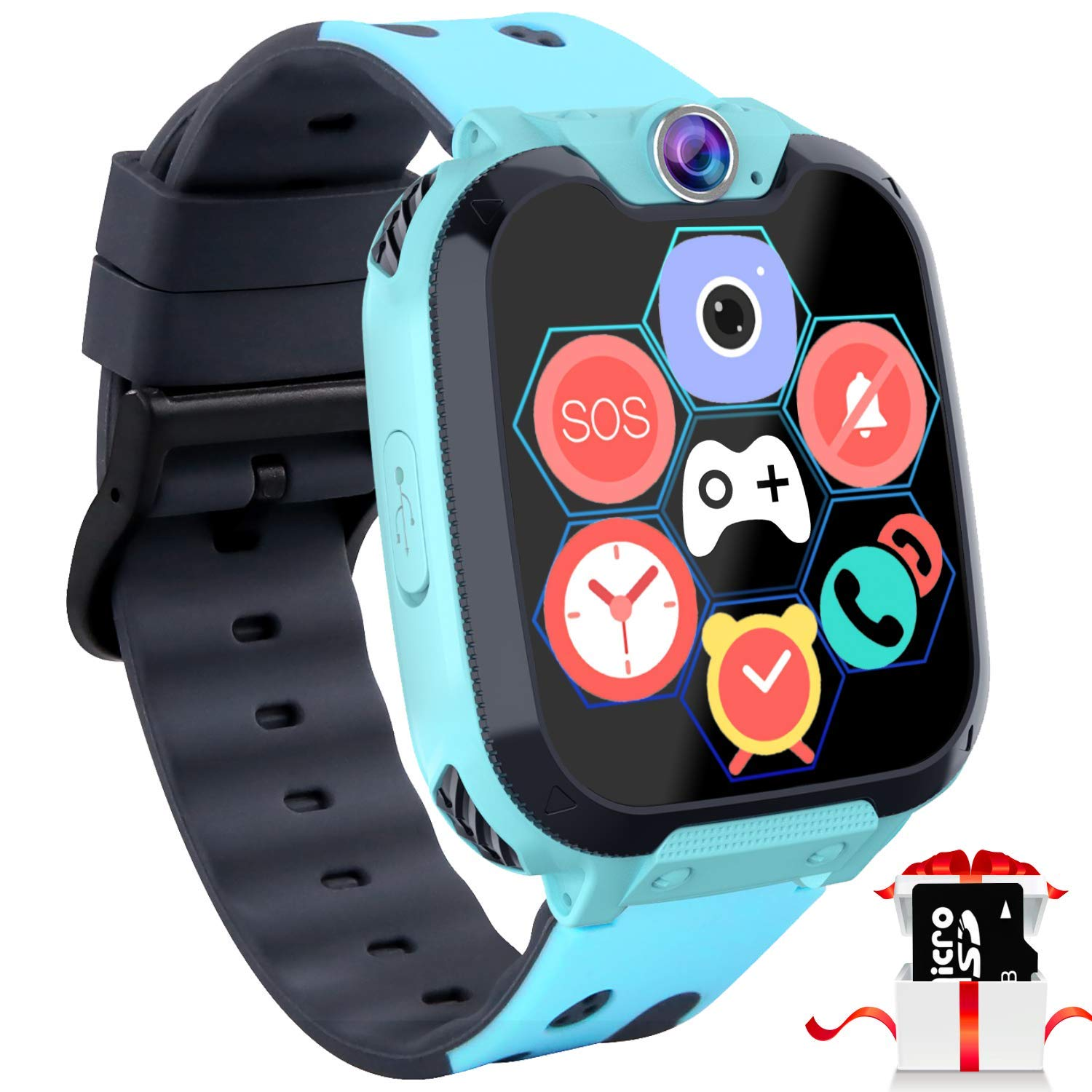 "Kids Game Smart Watch Phone - 1.54"" Touch Screen Game Smartwatches with [1GB Micro SD Card] Call SOS Camera 7 Games Alarm Clock Music Player Record ..."