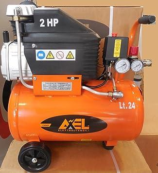 Compresor Aire 24 litros coaxial lubrificato 2 HP 8bar fu1507 Axel: Amazon.es: Bricolaje y herramientas