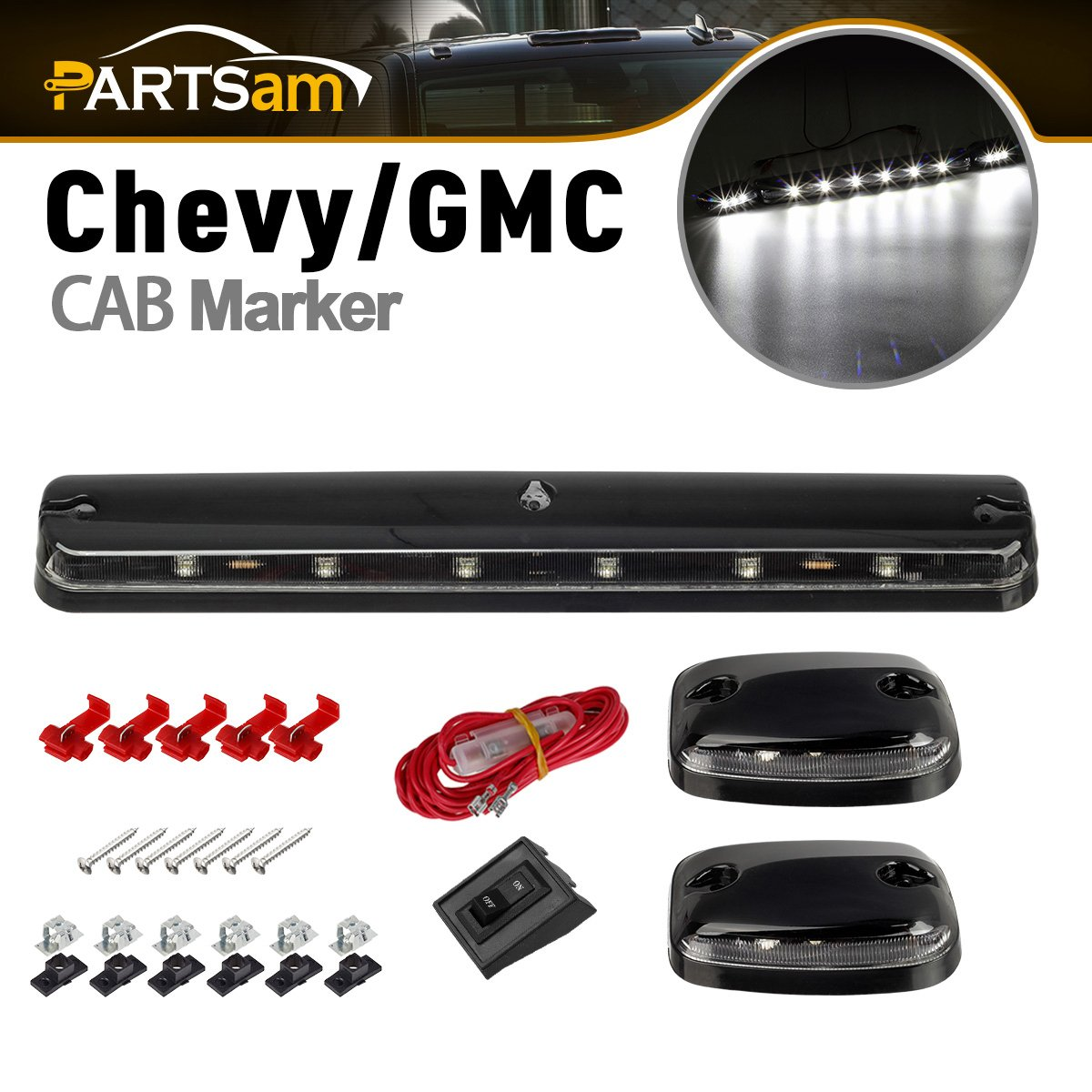 Partsam 3PCS Clear Lens Cab Roof Marker Lights 12LED Amber Top Clearance Assembly Light Replacement For 2007 2008 2009 2010 2011 2012 2013 2014 Chevy Silverado GMC Sierra 1500 2500 3500 2500HD 3500HD