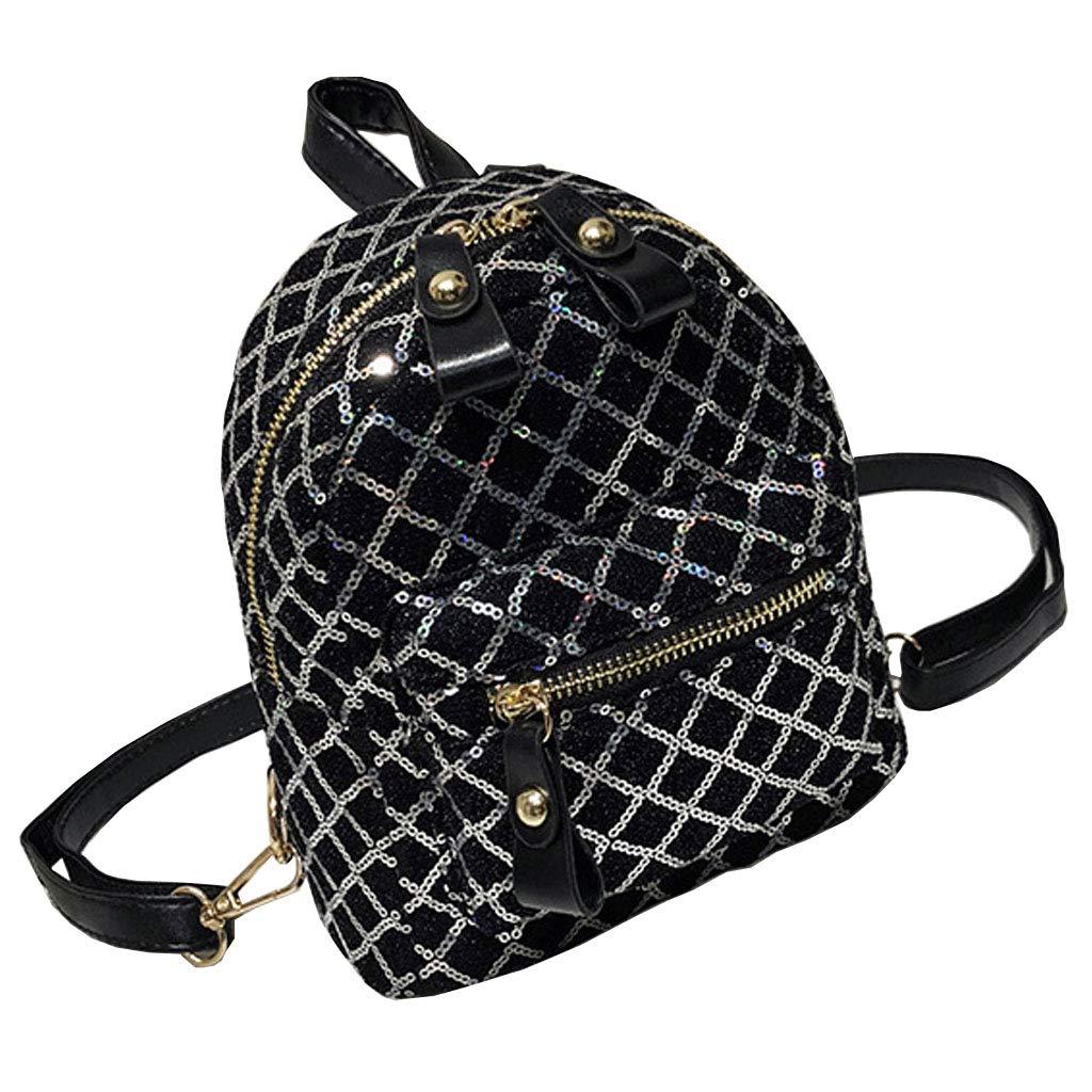 Silver Mini Backpack Fashion Wild Rhombic MultiUse Mini Sequin Shoulder Bag Student Bag Women's Shoulder Bag