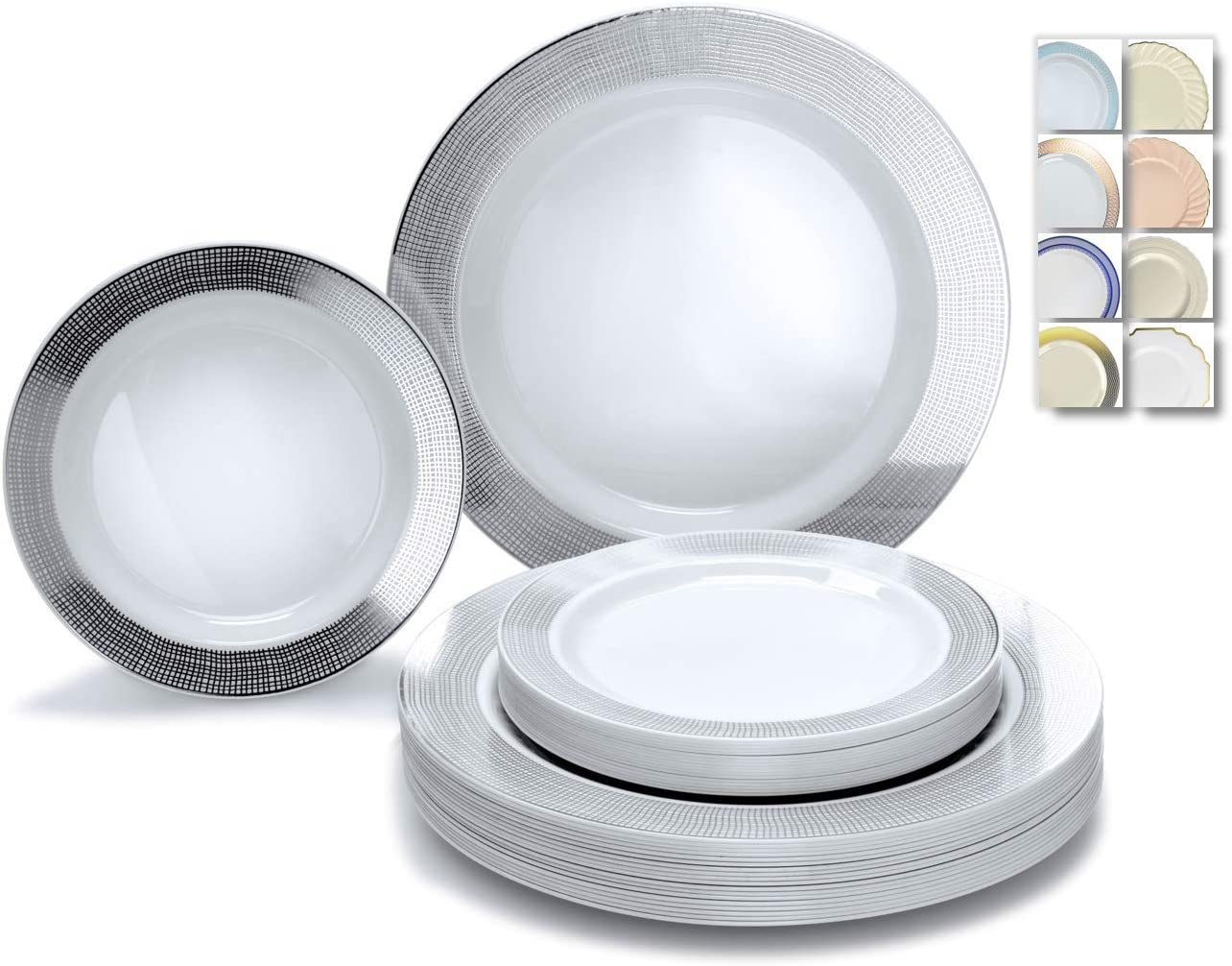 OCCASIONS 240 Plates Pack,(120 Guests) Heavyweight Wedding Party Disposable Plastic Plates Set -120 x 10.5'' Dinner + 120 x 7.5'' Salad/Dessert (Linen White/Silver) 71Hjrpm9u8L