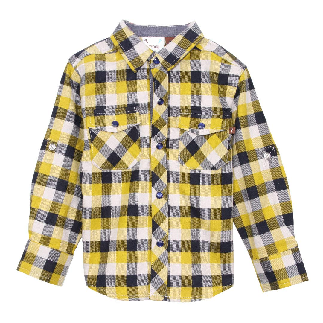 Fore Axel and Hudson Boy ShirtL//S Yellow//Navy Flannel Plaid Shirt Rolled Cuff