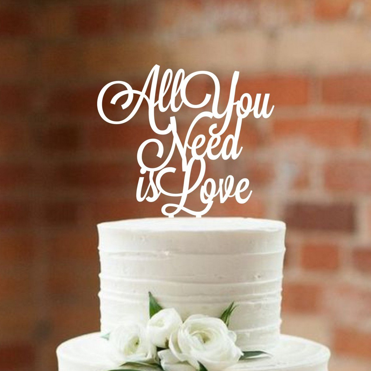 Wedding Cake Topper All you need is love Cake topper for wedding decorations HappyPlywood (white) by HappyPlywood (Image #3)