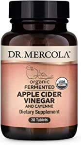 Dr. Mercola, Organic Fermented Apple Cider Vinegar and Cayenne Pepper, 30 Servings (30 Tablets), Supports a Healthy Metabolism, Non GMO, Soy Free, Gluten Free, USDA Organic