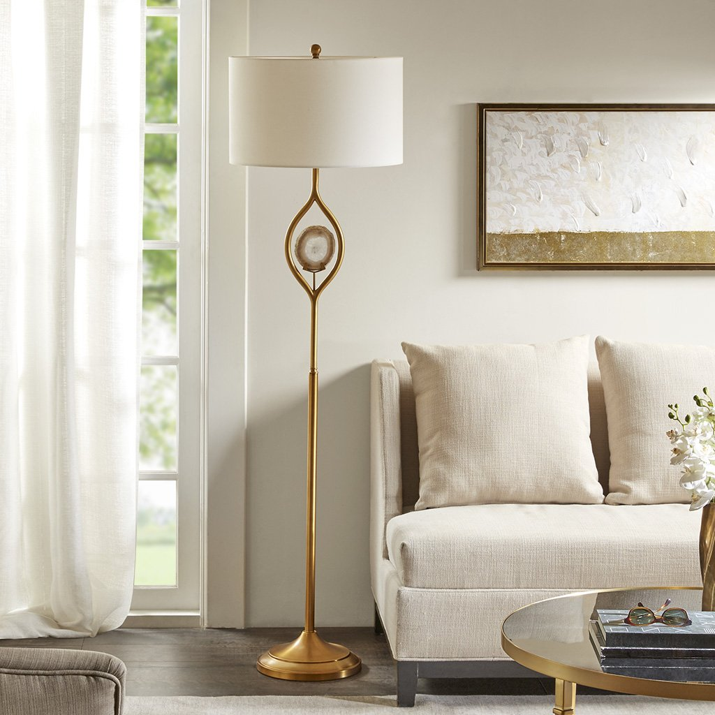 """Madison Park MP154-0128 Carla Floor Lamp - Modern Luxe Accent Furniture Décor Lighting for Living Room Metal Post Silver with Natural Agate Stone Uplight, White Round Shades, 63""""Tall, Gold"""