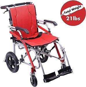 Hi-Fortune 21 lbs Lightweight Transport Medical Wheelchair