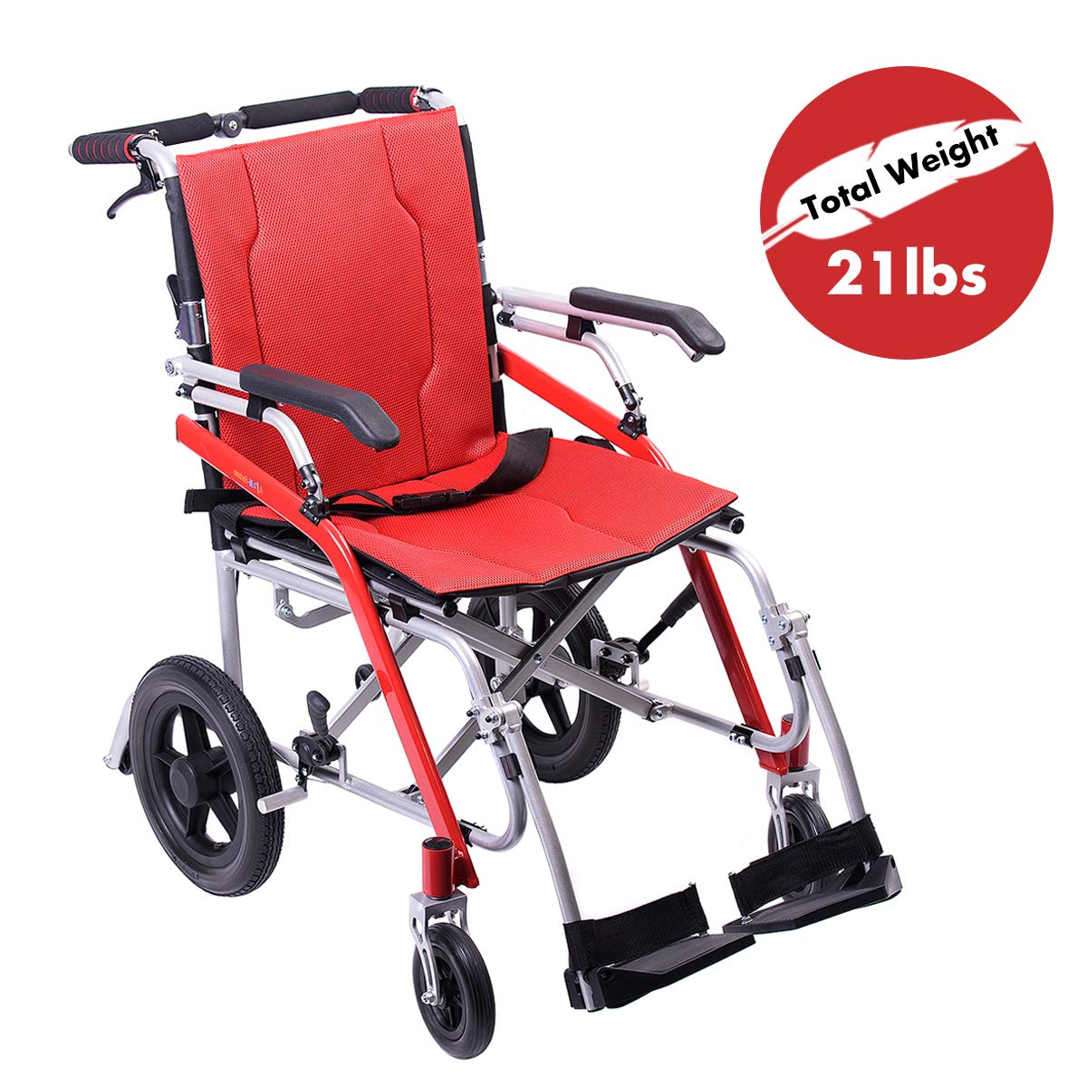 Hi-Fortune 21 lbs Lightweight Transport Medical Wheelchair with Adjustable Armrests and Hand Brakes, Portable and Folding with Magnesium Alloy, 18'' Seat, Red by Hi-Fortune