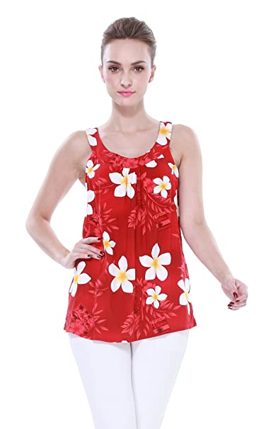 f06b335be32b0 Women s Hawaiian Floral Tank Top in Yellow Heart Plumeria with Red Leaf S