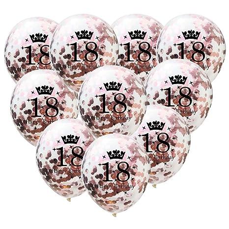 TONVER - Globos de látex para Fiesta de cumpleaños, 10 Unidades de 30 cm, Suministros de decoración para Bodas y cumpleaños de 18 años, látex, Rose ...