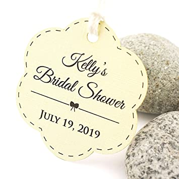 summer ray 50pcs personalized ivorycream scallop bridal shower thank you tags from my