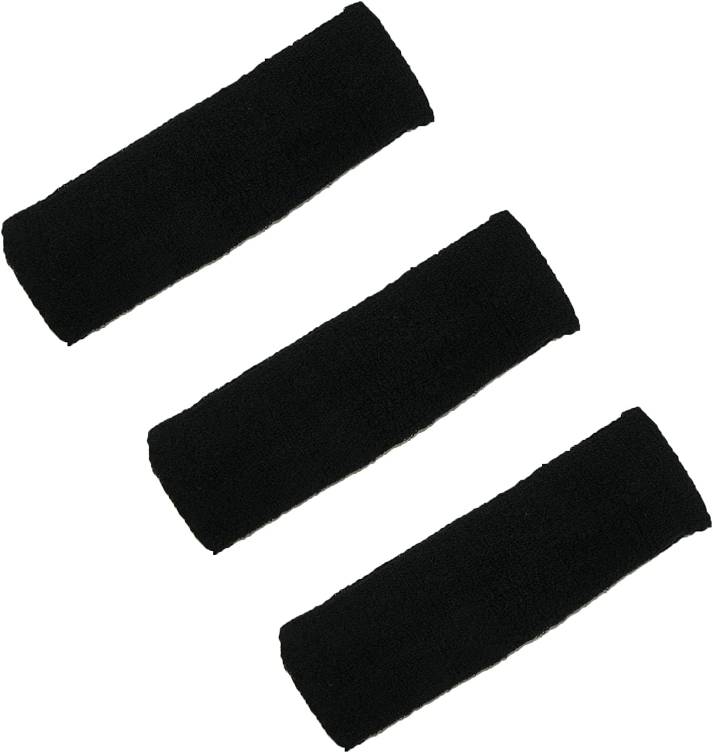 CTM Cotton Terry Cloth Sweat Sport Headband (Pack of 3)