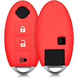 kwmobile Car Key Cover for Nissan - Silicone Protective Key Fob Cover for Nissan 3 Button Car Key - Red