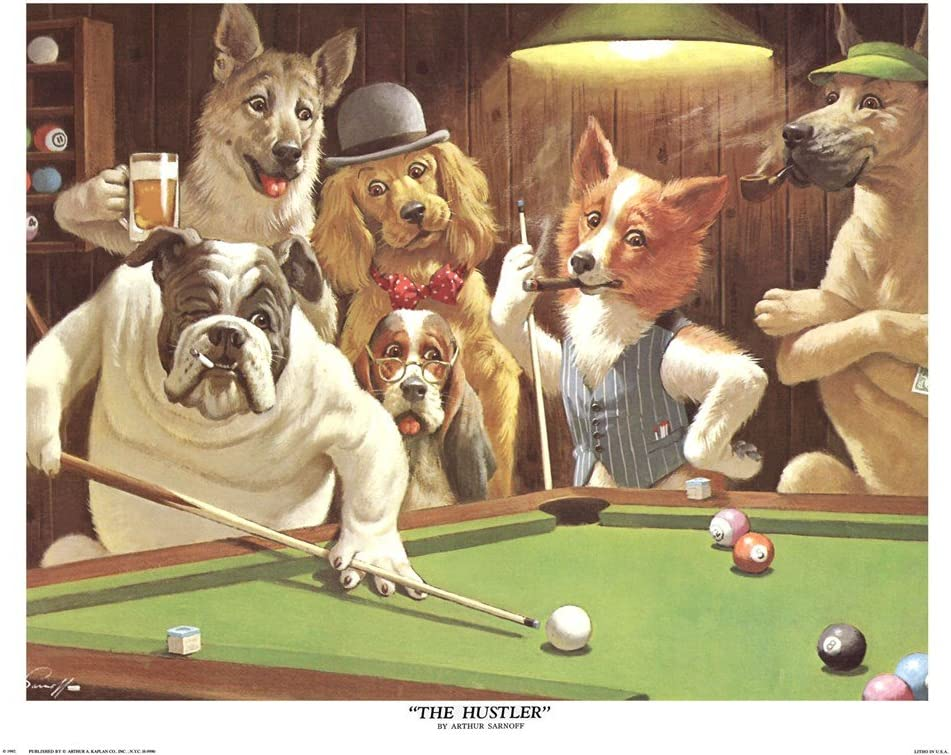 Set of 4 Pool Dogs Man Cave Games Room Arthur Sarnoff Canvas Poster Wall Print