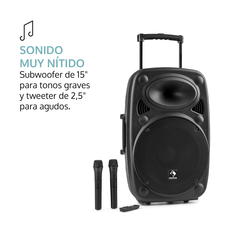auna Streetstar 15 Equipo de PA portátil - Sistema Sonido móvil, 1000W Total, Subwoofer 15