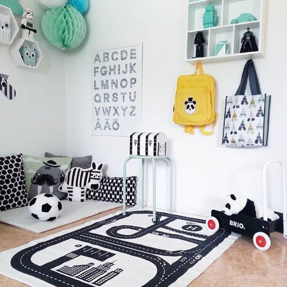 ARTSTORE Children's Floor Play Game Mat,Non Toxic Anti-Slip Cotton Early Education Baby Crawling Carpet for Kids Room,Car Track