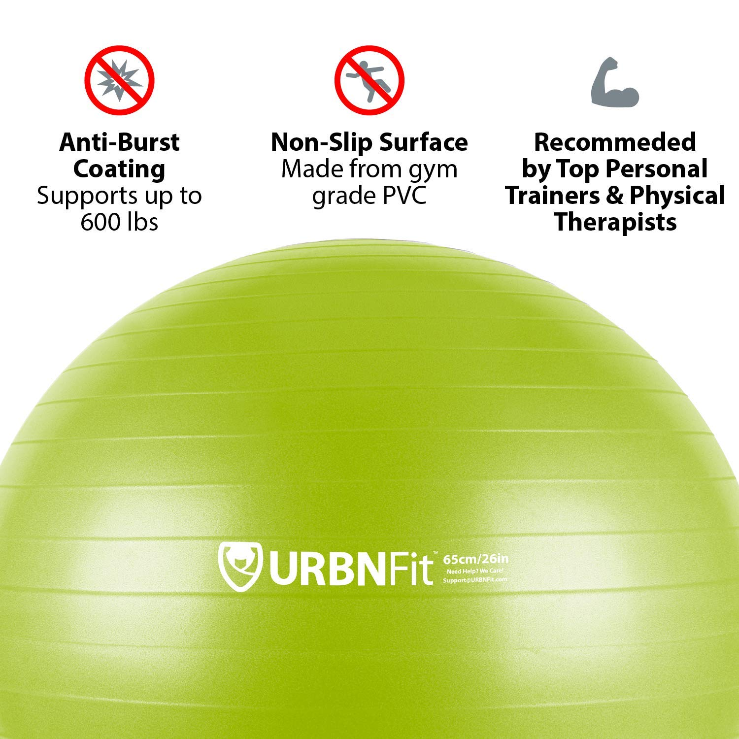 URBNFit Exercise Ball (Multiple Sizes) for Fitness, Stability, Balance & Yoga - Workout Guide & Quick Pump Included - Anit Burst Professional Quality Design (Green, 55CM) by URBNFit (Image #2)
