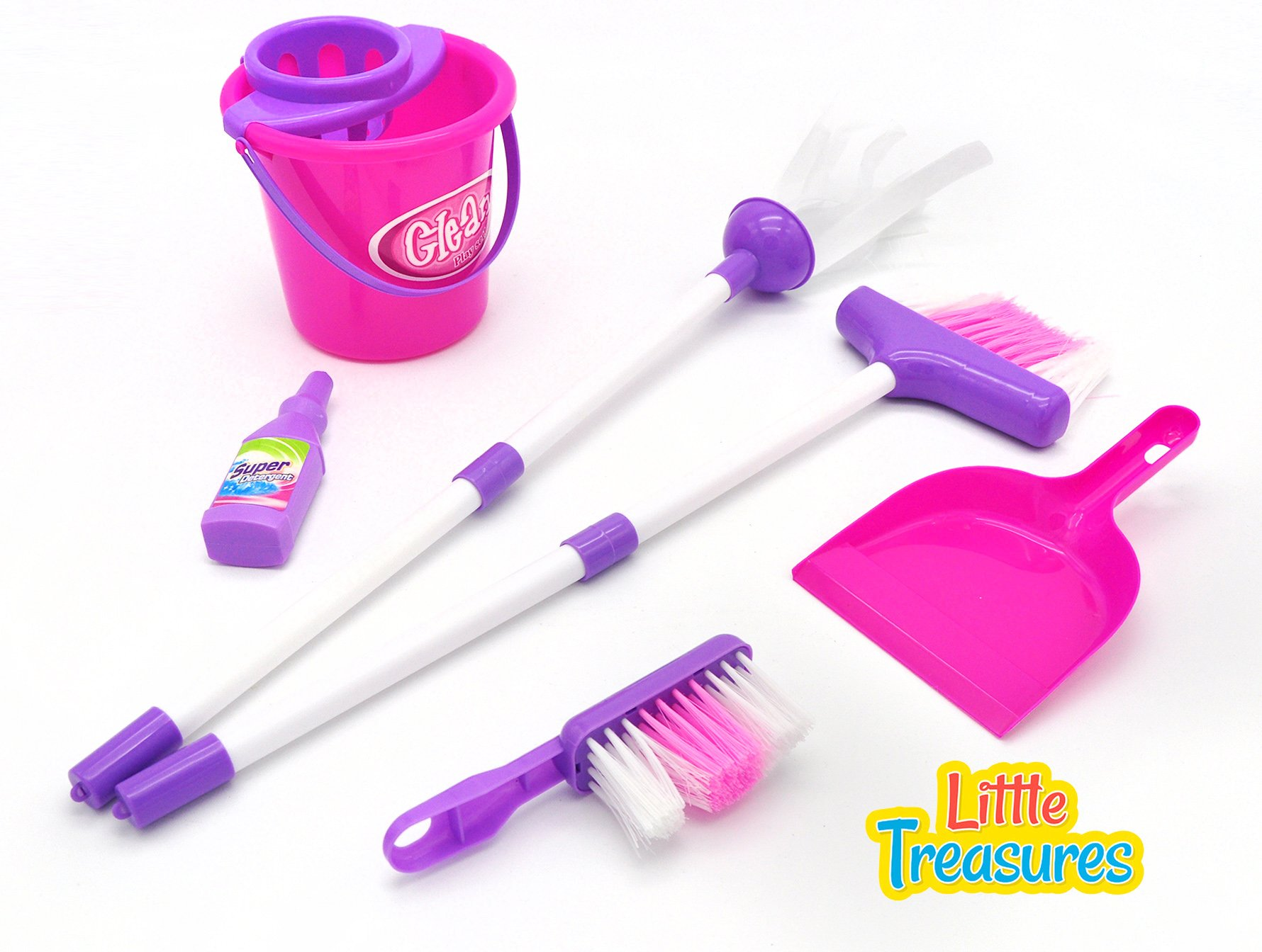 Little Treasures My Little Helper Cleaning Play Set Complete with Small Sized Broom, mop, Bucket, Super Detergent, Hand-Broom and Dustpan Play Set for Children Ages 3 by Little Treasures