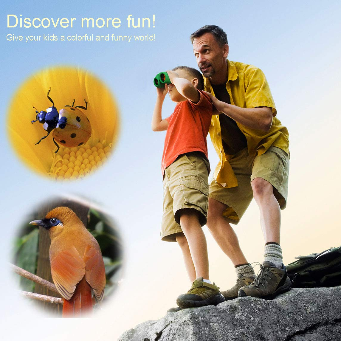 BIBOYELF Toys for 4-5 Year Old Boys,Long Range Walkie Talkies for Kids and Compact Telescope Boys Gifts 4-8 Year Old to Bird Watching,Outdoor Toys Games Gifts for 3-12 Year Old Boys Presents,Green by BIBOYELF (Image #5)